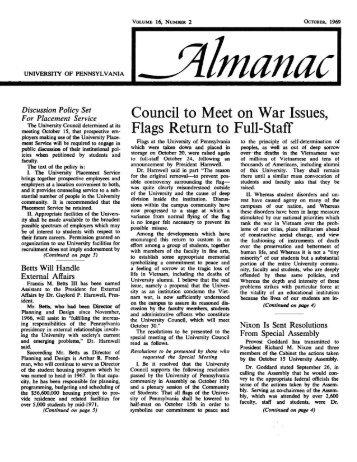 Almanac, 10/1969, Vol. 16, No. 02 - University of Pennsylvania