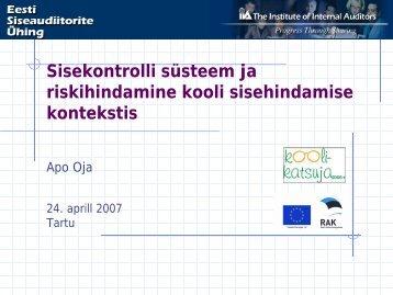 Sisekontrolli süsteem ja riskihindamine kooli sisehindamise kontekstis