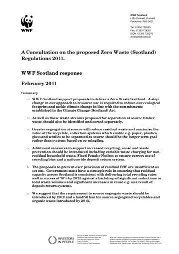 A Consultation on the proposed Zero Waste (Scotland) - WWF UK