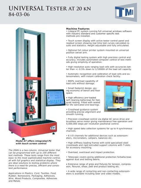 UNIVERSAL Tester AT 20 kN 84-03-06 - Testing Machines Inc