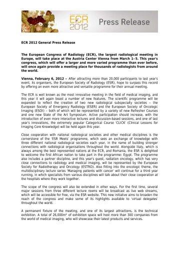 ECR 2012 General Press Release - myESR.org
