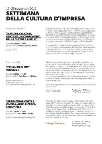 SETTIMANA DELLA CULTURA D'IMPRESA - Fondazione Pirelli