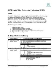 SCTE Digital Video Engineering Professional (DVEP) I. Digital ...