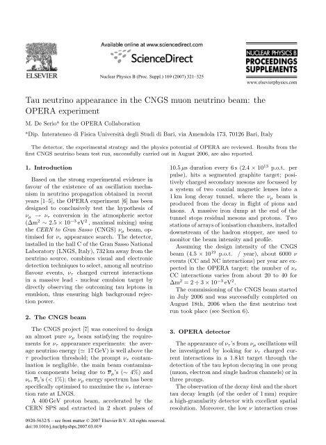 Tau neutrino appearance in the CNGS muon neutrino ... - opera - Infn