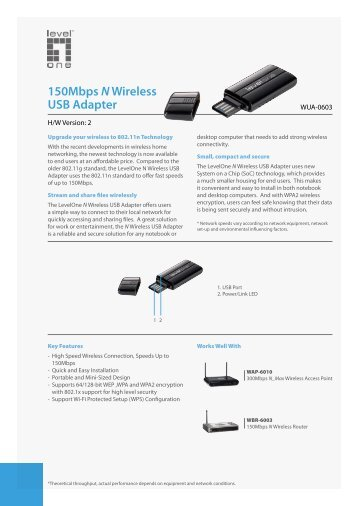 150Mbps NWireless USB Adapter - LevelOne - Quality networking ...