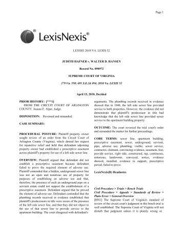 LEXSEE 2010 VA. LEXIS 52 JUDITH HAFNER v. WALTER D ...