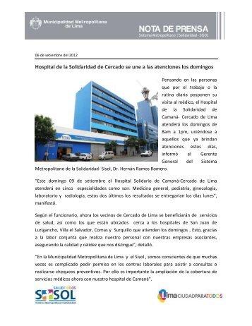 Hospital de la Solidaridad de Cercado se une a las atenciones los ...