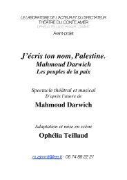 J'écris ton nom, Palestine. - Cités Unies France
