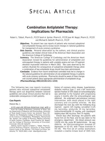 Combination antiplatelet therapy: implications for... - ResearchGate