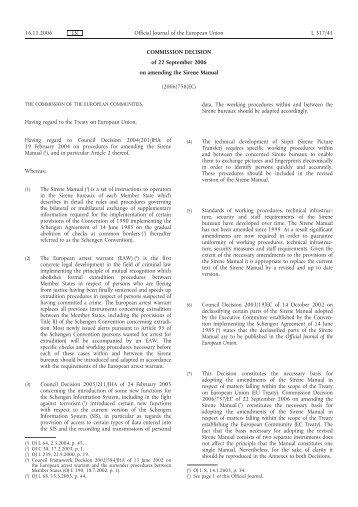 COMMISSION DECISION of 22 September 2006 on ... - EUR-Lex