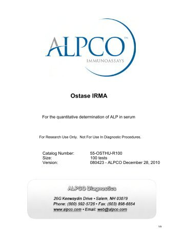 Ostase IRMA A44176 - ALPCO Diagnostics