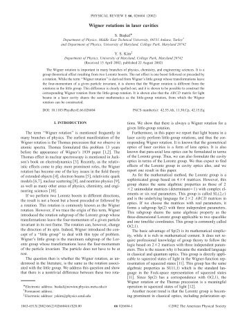 Wigner rotations in laser cavities - American Physical Society