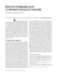 ENFANTS D'IMMIGRÉS DANS LA DIVISION SOCIALE ET SCOLAIRE