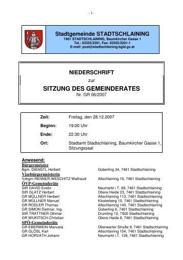 SITZUNG DES GEMEINDERATES - Stadtschlaining