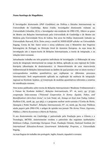 1 Nuno Santiago de Magalhães É Investigador doutorando (PhD ...