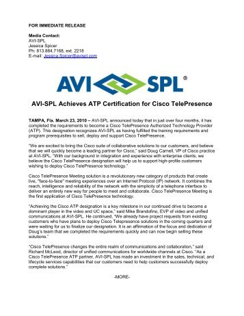 AVI-SPL Achieves Cisco TelePresence Video Master ATP Designation