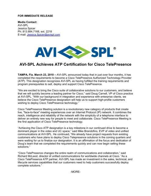 AVI-SPL Achieves ATP Certification for Cisco TelePresence
