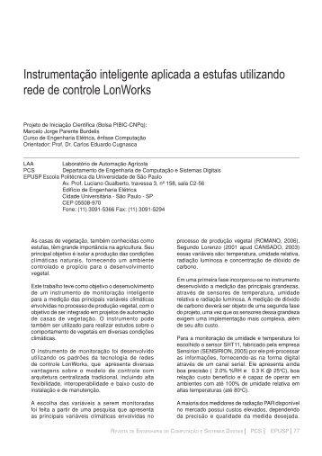 Instrumentação inteligente aplicada a estufas utilizando rede de ...