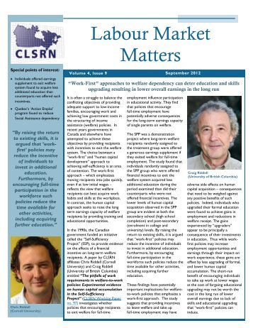 Labour Market Matters: Edition 37 – September 2012 - Canadian ...