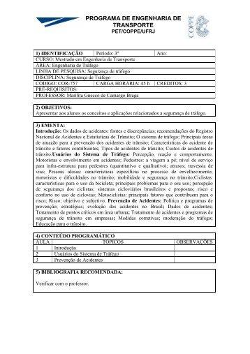 COR757 - PET Programa de Engenharia de Transporte - COPPE ...