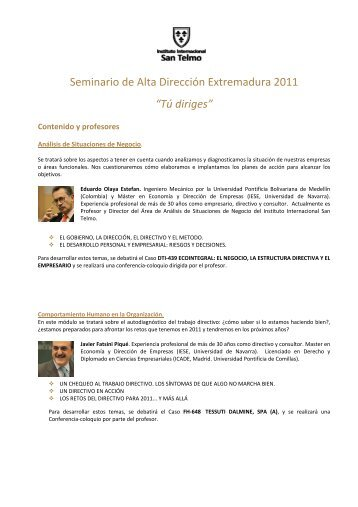 Contenido y claustro - Instituto Internacional San Telmo