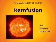Kernfusion - Institut für Theoretische Physik I