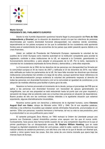 Carta enviada a Martin Schulz - Foro de Vida Independiente y ...