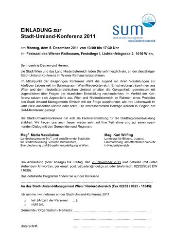 Einladung, Programm - Stadt-Umland Management