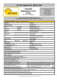 """Au Pair Agentur Dr. Mona Lietz """"AUPAIR"""" Registration Form China"""