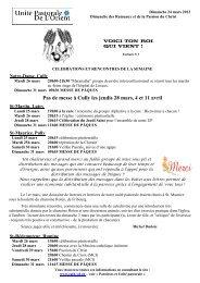Pas de messe à Cully les jeudis 28 mars, 4 et 11 avril - Cath-vd.ch