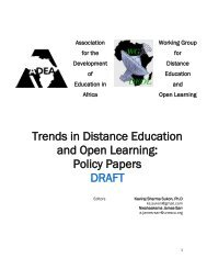 Trends in Distance Education and Open Learning: Policy ... - ADEA