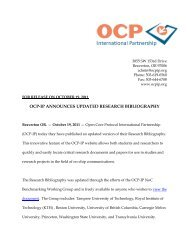 OCP-IP ANNOUNCES UPDATED RESEARCH BIBLIOGRAPHY