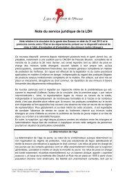 Note du service juridique - Ligue des droits de l'Homme