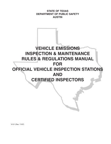 Vehicle Emissions Inspection & Maintenance Rules & Regulations