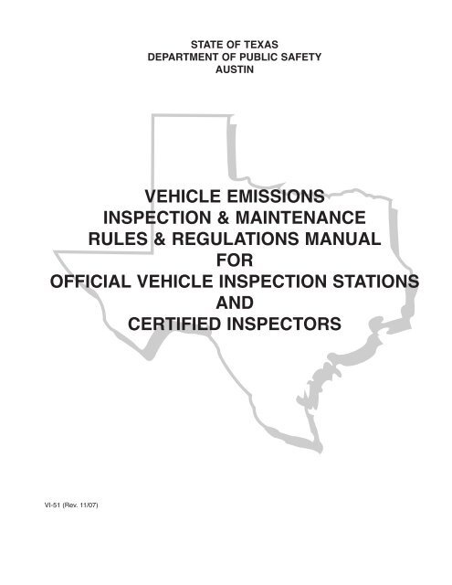 Texas Car Inspection >> Vehicle Emissions Inspection Maintenance Rules Regulations