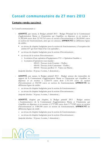 Conseil communautaire du 27 mars 2013 - Communauté d ...