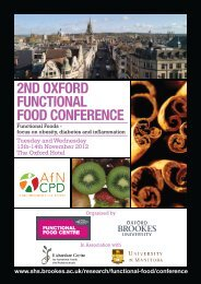 2nd oxford functional food conference - Faculty of Health and Life ...