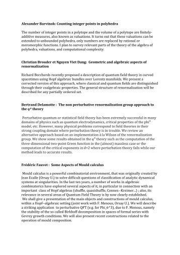 Alexander Barvinok: Counting integer points in ... - QNP2012