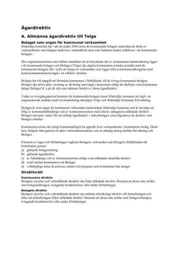 Ägardirektiv - Södertälje kommun