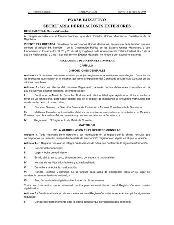 Reglamento de Matricula Consular - Secretaría de Relaciones ...
