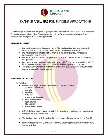 EXAMPLE ANSWERS FOR FUNDING APPLICATIONS