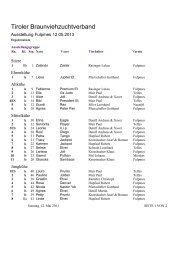 Die Siegerliste der Talausstellung Stubai 2013 ... - Braunvieh Tirol