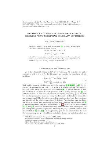 MULTIPLE SOLUTIONS FOR QUASILINEAR ELLIPTIC PROBLEMS ...