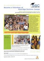 Volunteer at Oxbridge Summer Camps