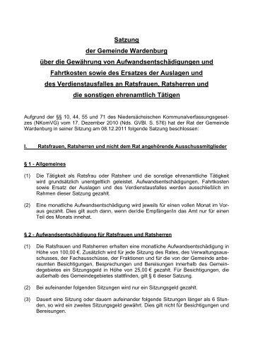 Satzung der Gemeinde Wardenburg über die Gewährung von ...