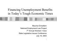 Financing Unemployment Benefits in Today's Tough Economic Times