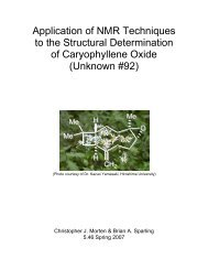 Application of NMR Techniques to the Structural Determination of ...