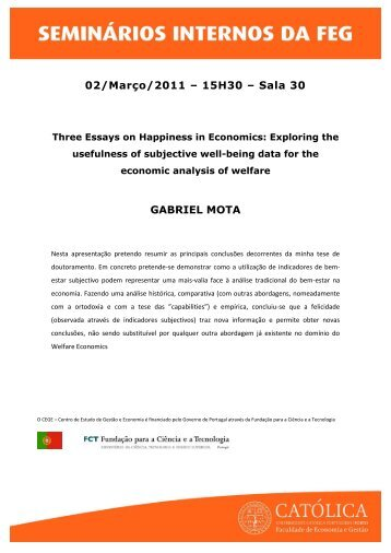 02/Março/2011 – 15H30 – Sala 30 GABRIEL MOTA - Católica Porto