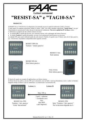 """RESIST-SA"""" e """"TAG10-SA"""" - Faac"""
