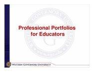 Professional Portfolios for Educators - WGU Alumni Community